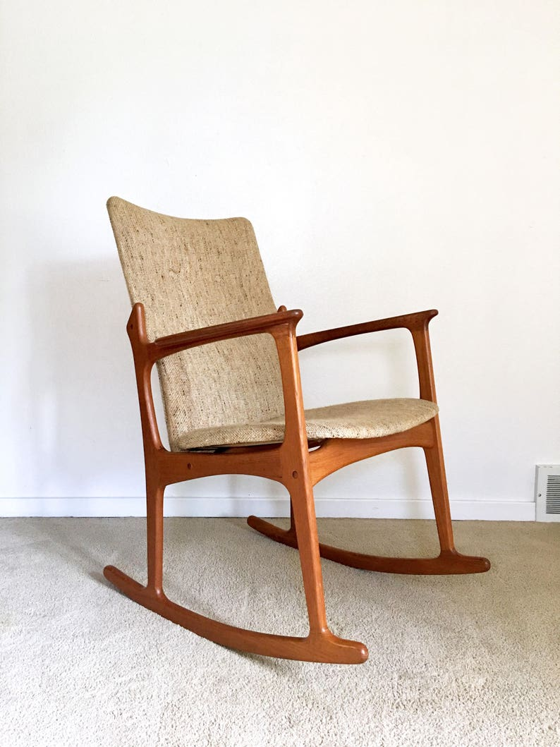 Vintage Danish Modern Sculpted Teak Rocking Chair High Back