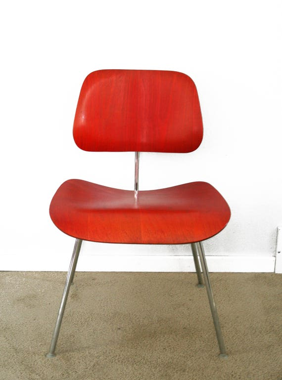 Fabulous Mid Century Early Eames Evans Red Aniline Dcw Dining Chair Pdpeps Interior Chair Design Pdpepsorg