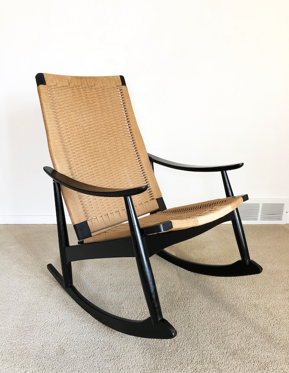 newest collection fd876 17235 Danish modern rocker woven cord rope rocking chair