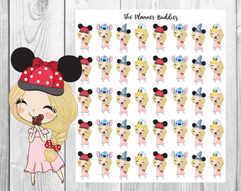 Disney Planner Girls, Disney Themed Planner Stickers, Diecuts, Mickey Mouse, Minnie Mouse, Ice Cream