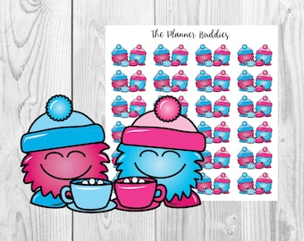 Puffles, Sharing the Love, Winter, Hot Cocoa, Planner Stickers, Cute Stickers, Monsters