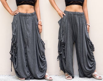 Convertible Maxi Skirt Palazzo Pants in Grey / Super Soft Cotton / Pockets / Fits Plus Size