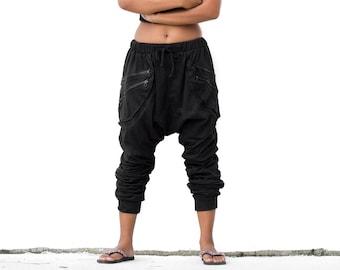 ea956be8f51 Harem Pants black women men Drop Crotch pants Goa Pants Gypsy Pants Baggy  Pants Festival Pants