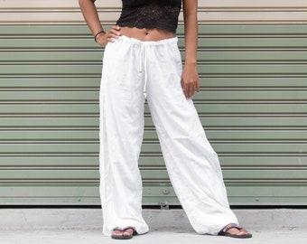 4df36854f47e White Yoga Pants Drawstring Harem Pants Women Men Boho Pants