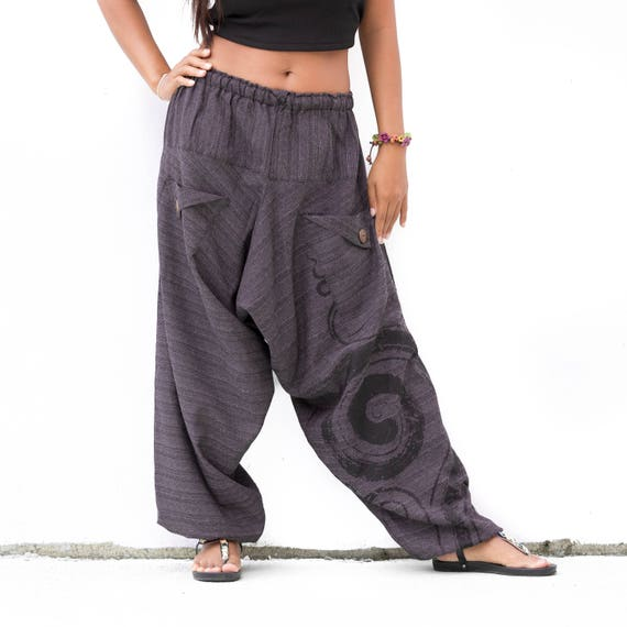 Boho pants women men Drop crotch Pants, Harem Pants , Yoga Pants, , Genie Pants, Baggy Pants