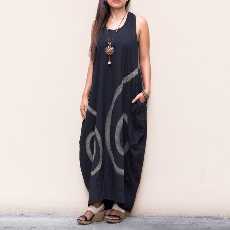 Boho Dress Maxi Oversized Boho Dress Gypsy Dress Tribal Dress Hippie Dress Bohemian Dress Maxi Black
