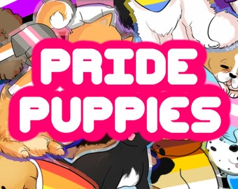 LGBTQ+ Pride Month Puppy Stickers! - Gay, Lesbian, Bi, Pan, Nonbinary, Agender, and More!