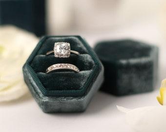 Velvet ring box - Vintage ring box - Hexagonal ring box - Wedding gift -  Pine