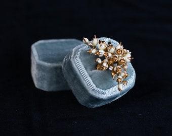 Velvet ring box - Vintage ring box - Octagonal ring box - Wedding gift - Aquarelle