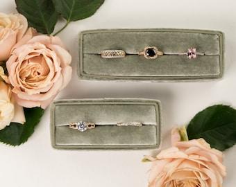 Velvet ring box - Rectangular ring box - Wedding gift - Olive