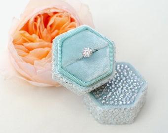 Velvet ring box - Rhinestones - Vintage ring box - Hexagonal ring box - Wedding gift -  Tiffany