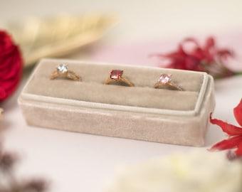 Velvet ring box - Rectangular ring box - Wedding gift - Cornsilk