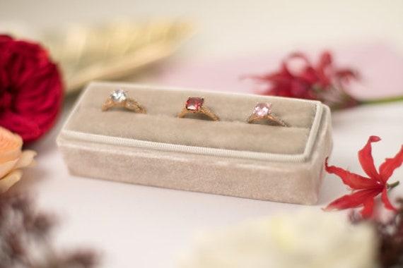 Red Velvet ring box Wedding Rectangular ring box Gift