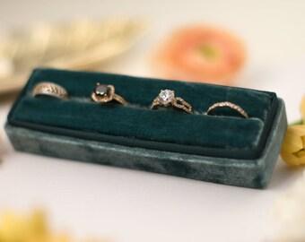 Velvet ring box - Rectangular ring box - Wedding gift - Pine
