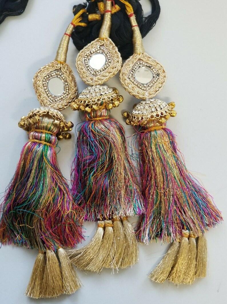 Indian Punjabi Pranda Mehndi Jagoo Mirror Bridal Patiala Paranda Hair Braid A38
