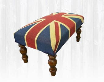 Union Jack Small Stool / Footstool Shabby Chic *HANDMADE In UK*