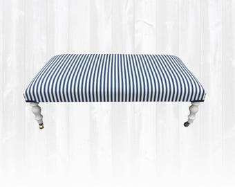 Ottoman / Footstool / Coffee Table Blue and White Ticking Stripe *New*HANDMADE in UK*