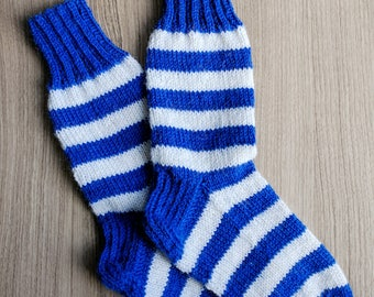 Hand knit children's socks with stripes