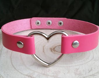hot Pink Heart Choker