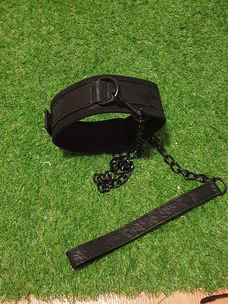Black bondage choker with leash