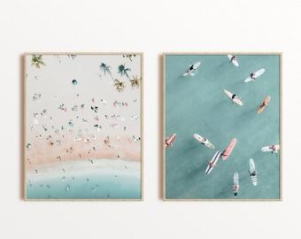 Aerial Beach Prints, Surf Print, Set Of 2 Aerial Beach Wall Art. Coastal Wall Art Set Of 2 Prints, Photography Beach Decor, Waves Print