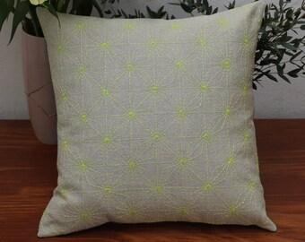 Hand embroidered pillow with Sashiko embroidery Diamond stars Ganzezashi pattern