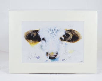 A4 print of original watercolour Hereford cow painting - 'DAISY'