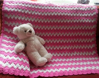 Knitted Pink and White Blanket