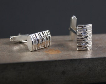 Sterling silver hammered cufflinks, silver textured cufflinks, rectangle cufflinks, modern silver cufflinks