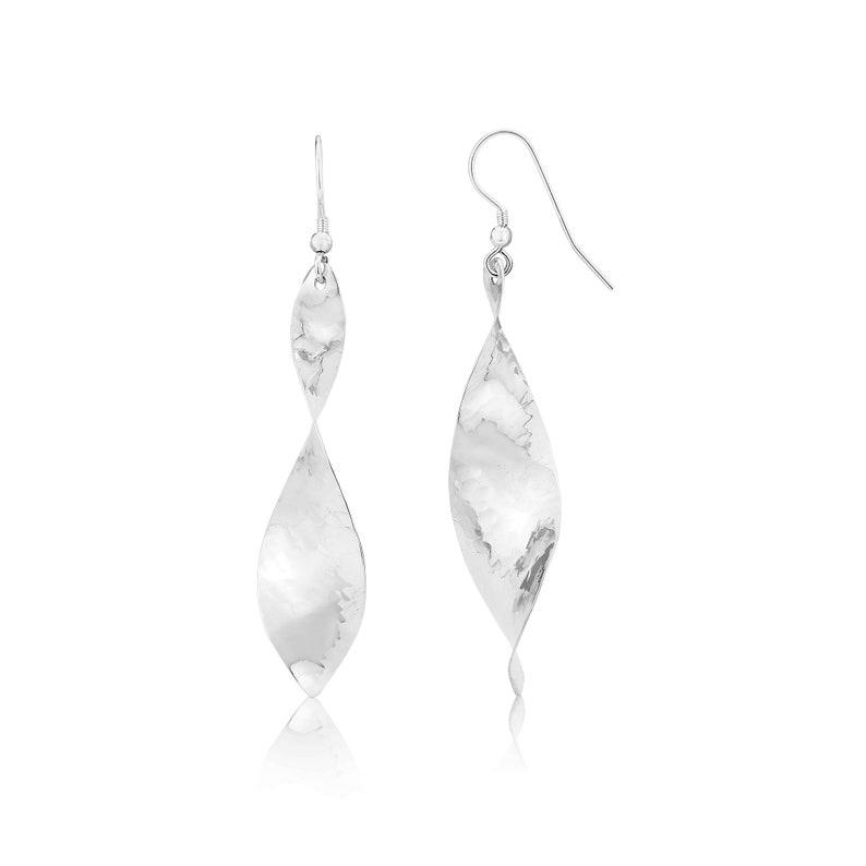 6da3822cf Narrow Twist drop earrings Sterling silver twist earrings   Etsy