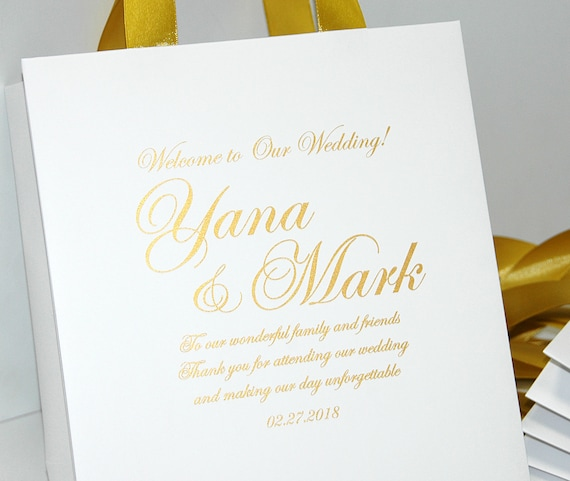 Personalized gift bags for wedding guests Elegant Wedding Favors 30 Black and Gold Wedding Welcome Bags with satin ribbon and your names