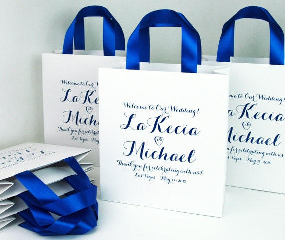 35 Royal Blue Wedding Welcome Bags With Satin Ribbon Handles Etsy
