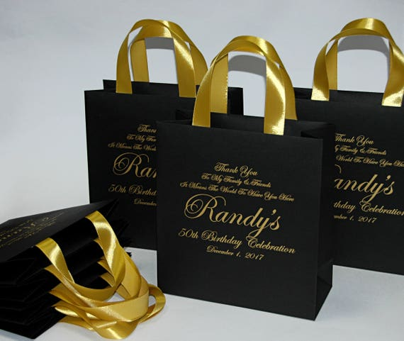 25 Elegant Black Gold Birthday Party Bags For Your Guests