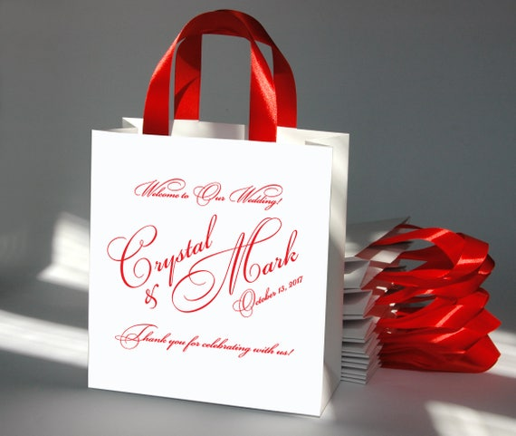c9deba9d1644 20 Wedding Welcome Bags with satin ribbon and custom names