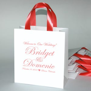 Elegant custom print Personalized wedding gifts and favors for hotel guests 35 Coral Wedding Welcome Bags with satin ribbon and your names