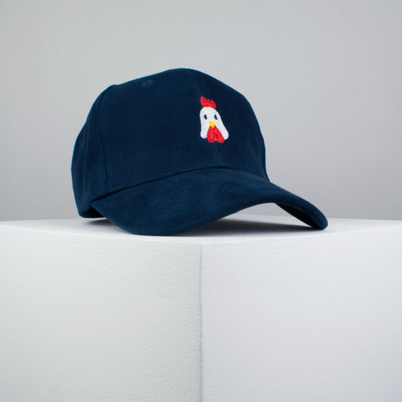 5322e361e Chicken embroidered baseball cap navy / bird / patches / animal /  embroidery / patch / hat / dad hat / cap / iron on patch