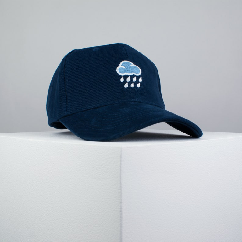 61aa60bdf Rainy day embroidered baseball cap navy   cloud   patches