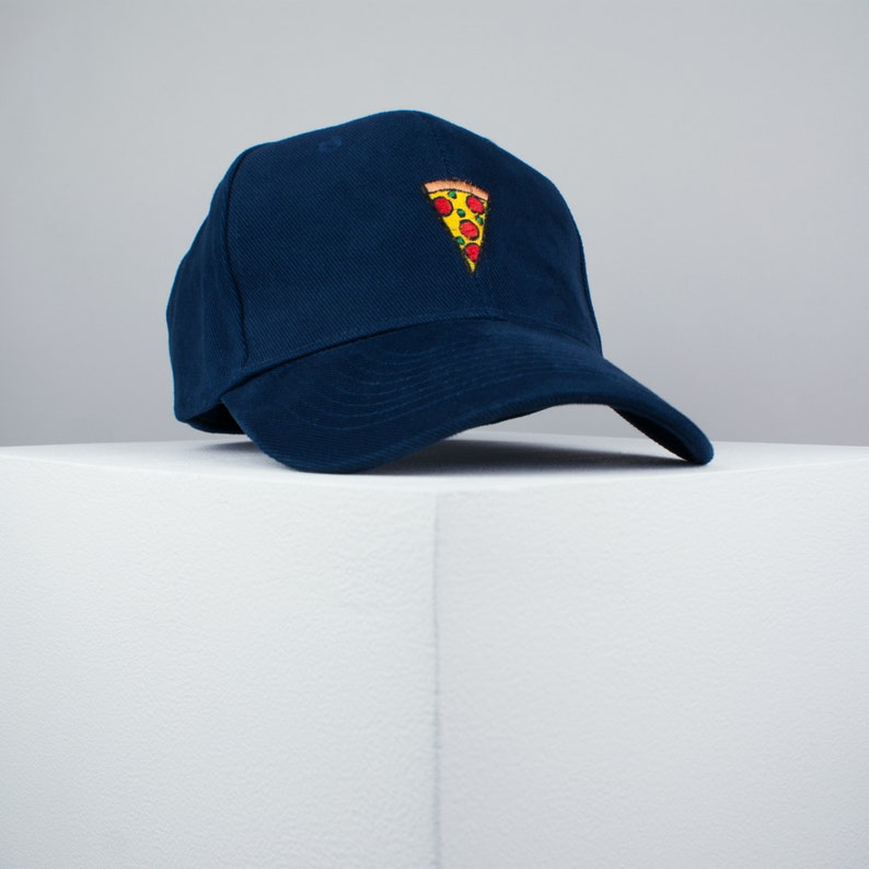 b125c532b0e Pizza slice embroidered baseball cap navy   pizza   patches