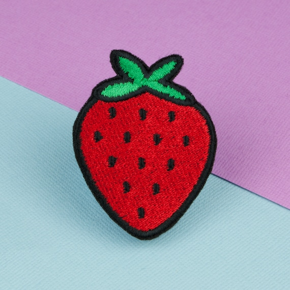 Strawberry iron on patch in 2020 | embroidery patches, cute.