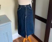 1980s Dark Blue Indigo Denim High Waisted Waist Pencil Skirt with Back and Front Slits Lord Isaacs Size Small