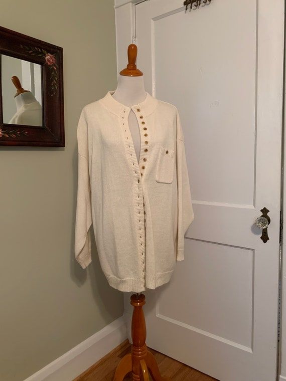 Vintage 80s Oversized Slouchy Grandpa Cardigan Cre