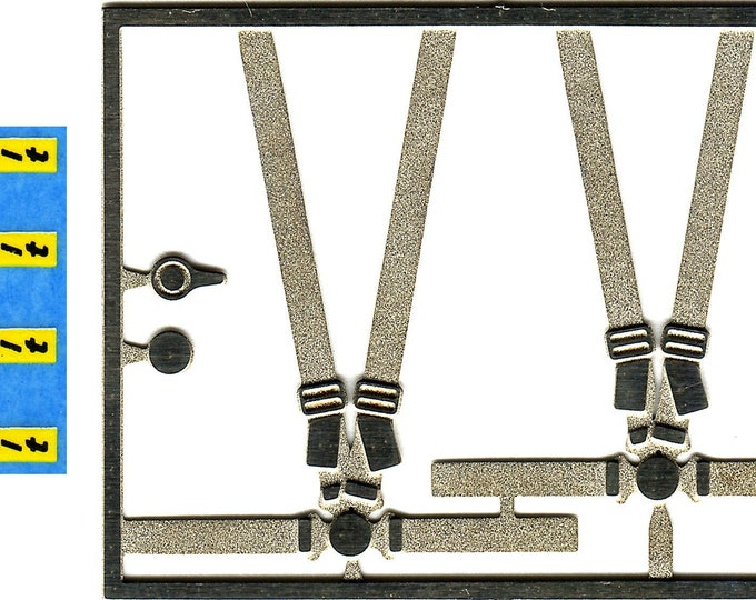 photo etched 1:43 4-points racing seatbelts 2 pieces (S abelt markings) Tameo FT39