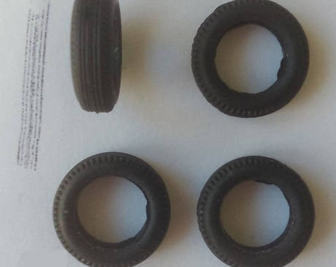 Set of 4 tires, threaded - Model car accessories - Scale model tires - 1 43 tires - 4,6x15,8x9,5mm - #438
