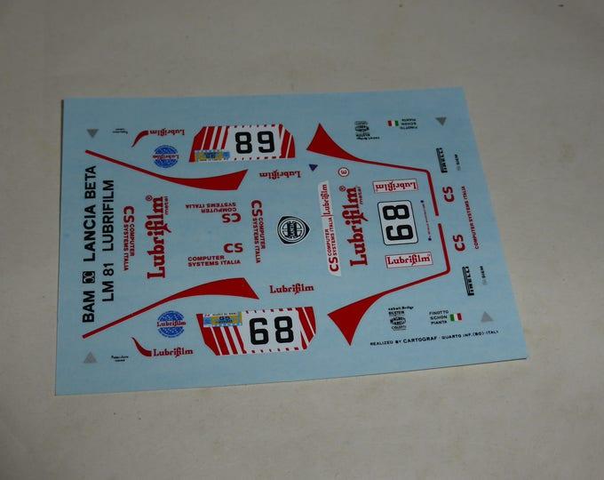 high quality 1:43 decals Lancia Beta Montecarlo Gr5 Lubrifilm Le Mans 1981 #68 Bam-X AMR CARTOGRAF printing