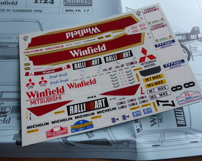 high quality 1:24 decals sheet for Mitsubishi Lancer Evo-III Winfield Sanremo/Catalunya 1996 Racing43 BIG-TK17