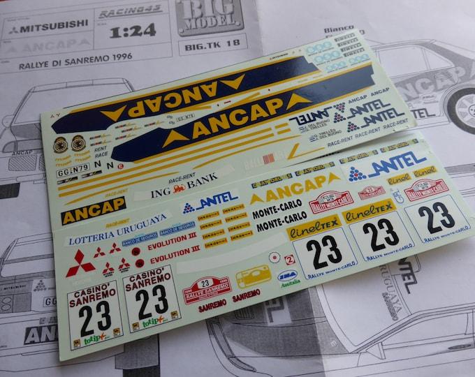 high quality 1:24 decals sheet for Mitsubishi Lancer Evo3 Gr.N Ancap Rally Montecarlo / Sanremo 1996 Trelles Racing43 BIG-TK18