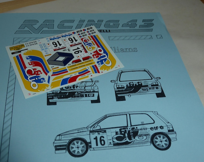high quality 1:43 decals sheet for Renault Clio Williams Raies Rally Argentina 1997 #16 RACING43 RD24