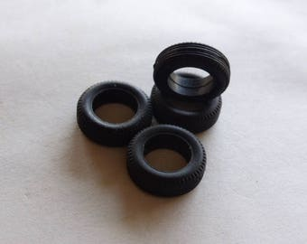 Set of 4 tires, threaded - Model car accessories - Scale model tires - 1:43 mm 5.1x15.2x9.0 #4367