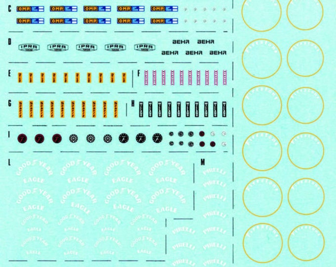 generic decal sheet with tire markings, seatbelts producers, radiators, fire extinguishers and so on 1:43 Tameo DG01