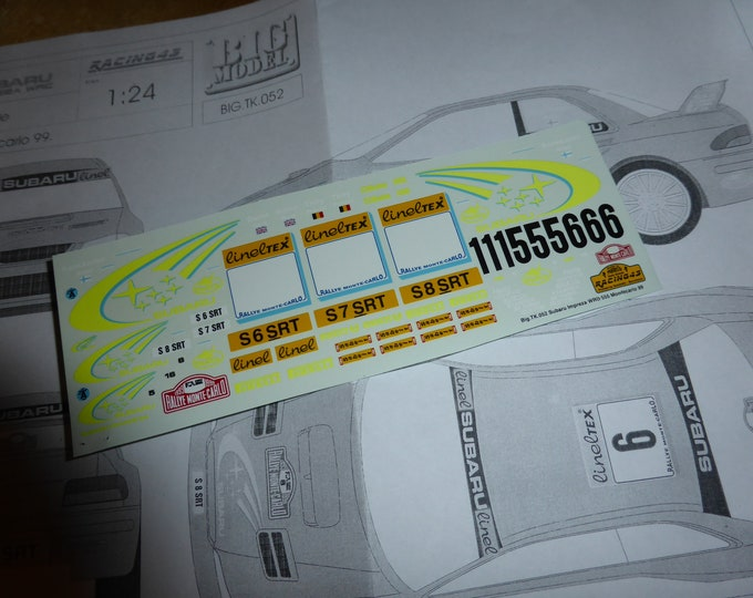 high quality 1:24 decals sheet for Subaru Impreza WRC 555 Rally Montecarlo 1999 Thiry, Kankkunen or Burns Racing43 BIG-TK52